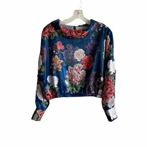 Zara Floral Print Blouse Cinched Crop Top M